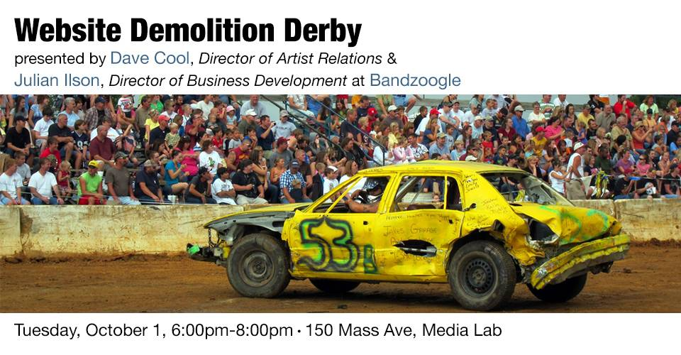 Website Demolition Derby, Tuesday, October 1, 6:00pm-8:00pm, 150 Mass Ave, Media Lab